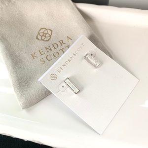 NWT Kendra Scott Rhodium mother of pearl earrings